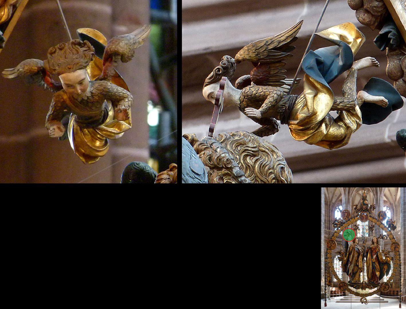 Englischer Gruß Engelchen im Federkleid, herabschwebend mit segnenden Händen (unten rechts Detaillokalisierung)