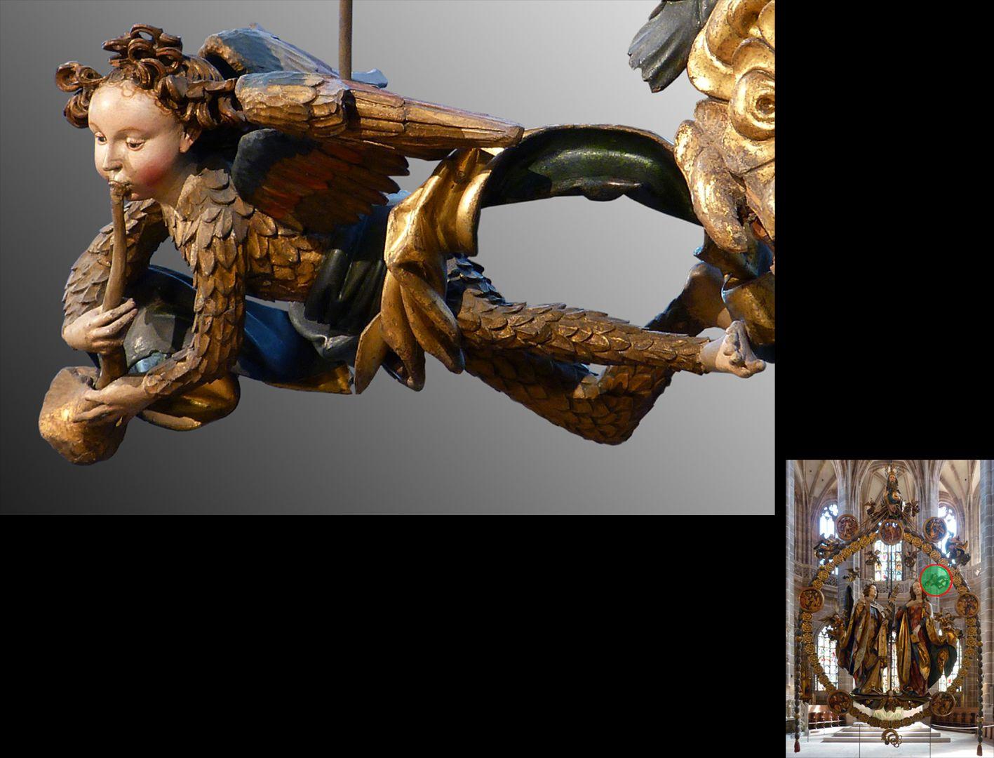 Englischer Gruß Engelchen im Federkleid mit Posaune (unten rechts Detaillokalisierung)