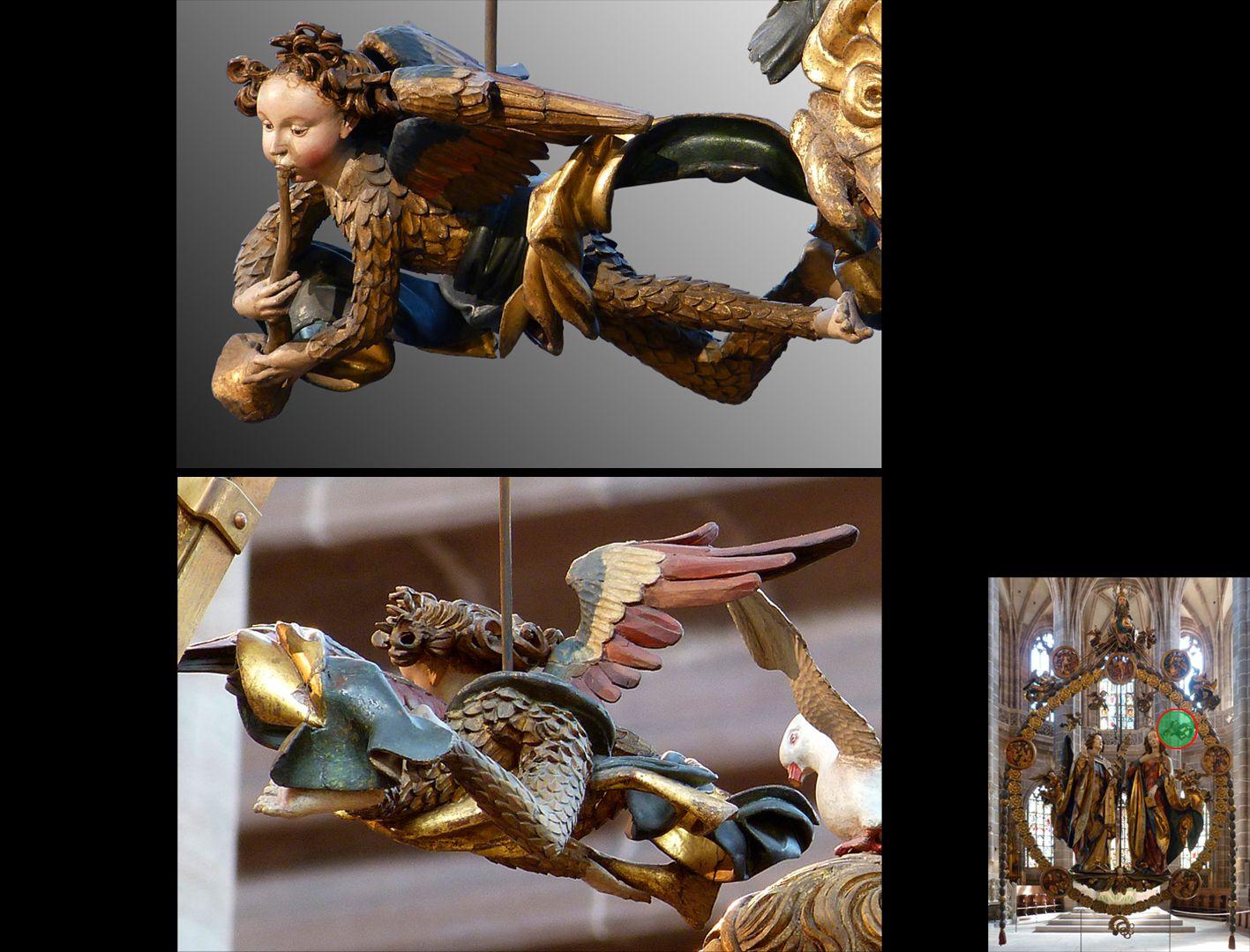Englischer Gruß Engelchen im Federkleid mit Posaune von vorne und hinten (unten rechts Detaillokalisierung)