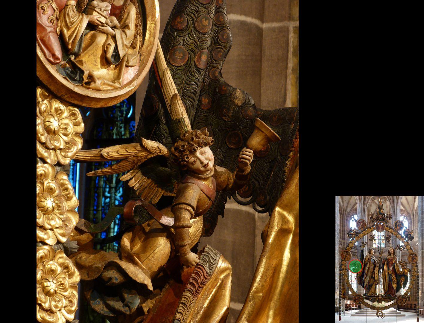Englischer Gruß Engel mit Handglocke den Umhang Gabriels anhebend (unten rechts Detaillokalisierung)