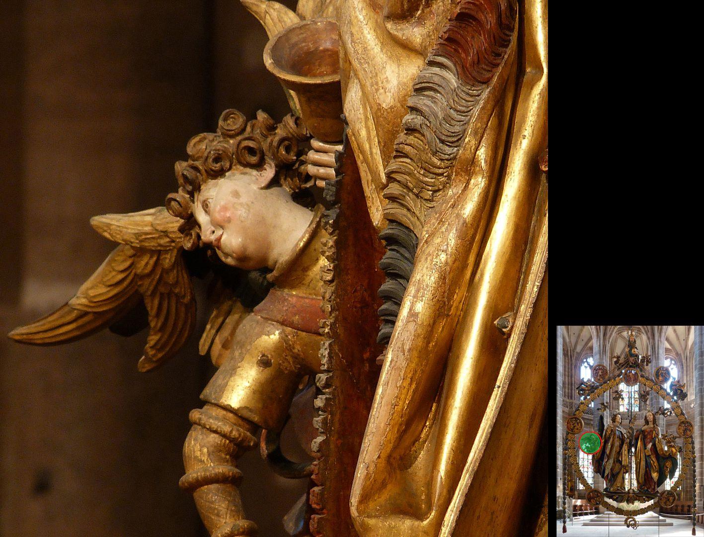 Englischer Gruß Engel mit Handglocke im Profil (unten rechts Detaillokalisierung)