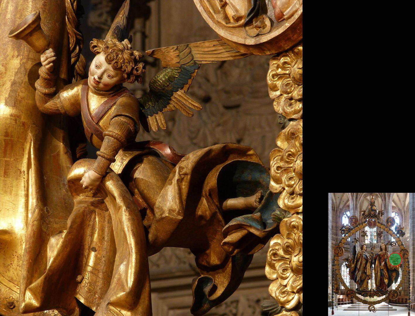 Englischer Gruß Engel mit Handglocke den Umhang Marias anhebend (unten rechts Detaillokalisierung)