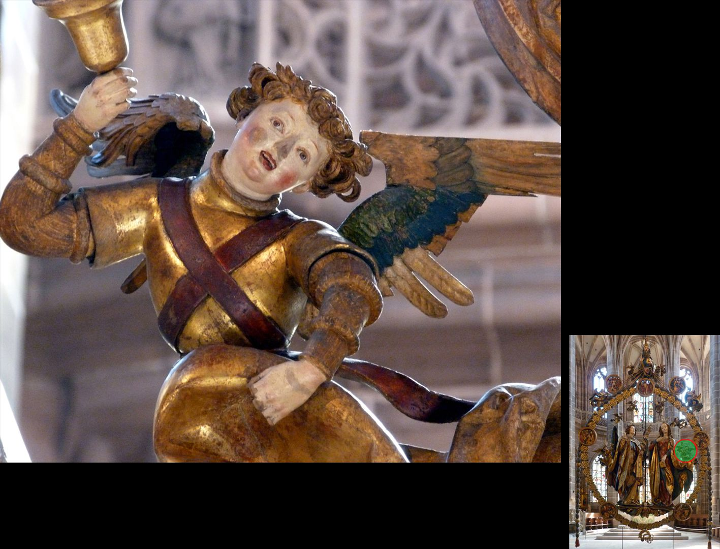 Englischer Gruß Engel mit Handglocke, Detail (unten rechts Detaillokalisierung)