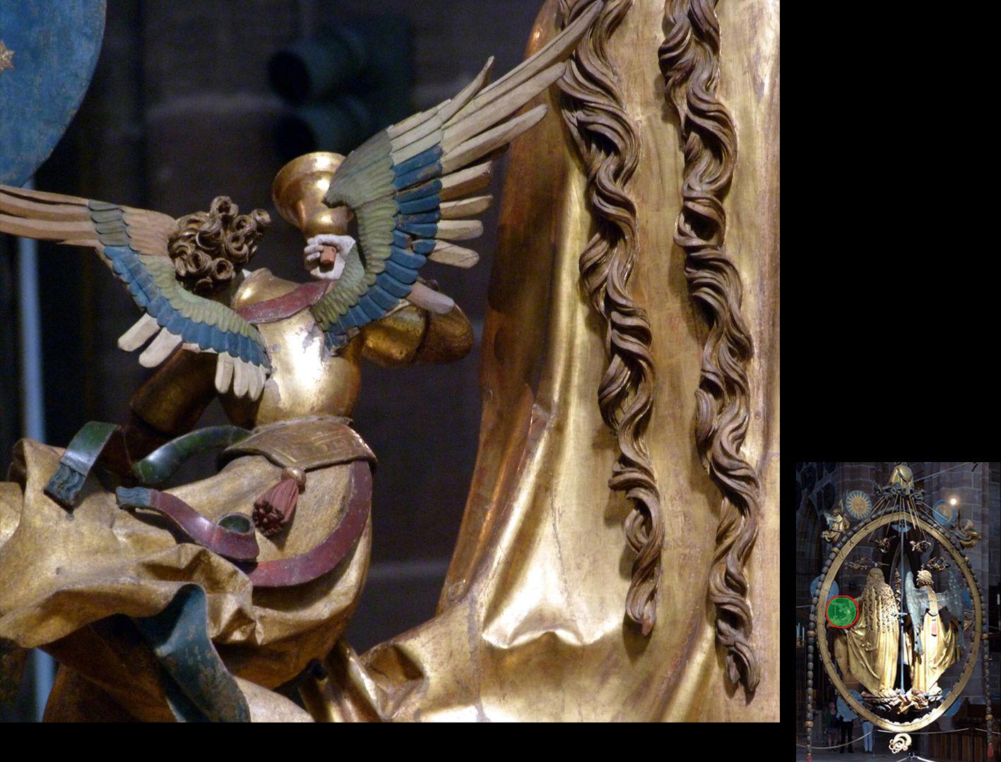 Englischer Gruß Engel mit Handglocke von hinten (unten rechts Detaillokalisierung)