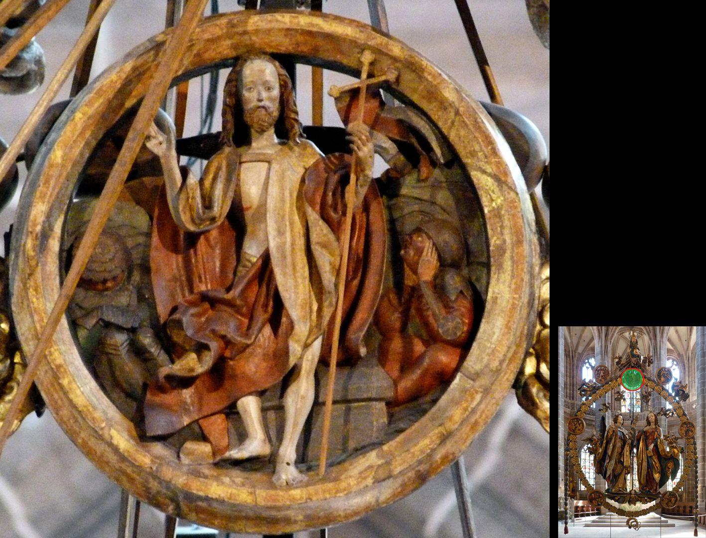 Englischer Gruß Auferstehungsmedaillon (unten rechts Detaillokalisierung)