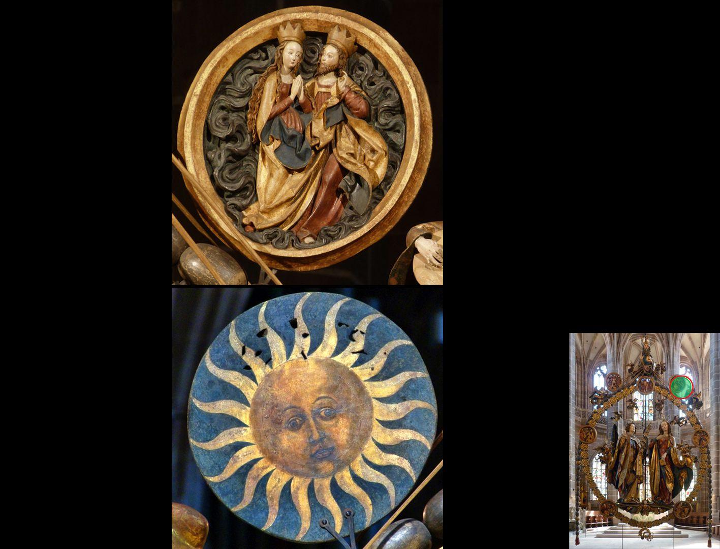 Englischer Gruß Christus-Marienmedaillon, Vorder- und Rückseite (unten rechts Detaillokalisierung)