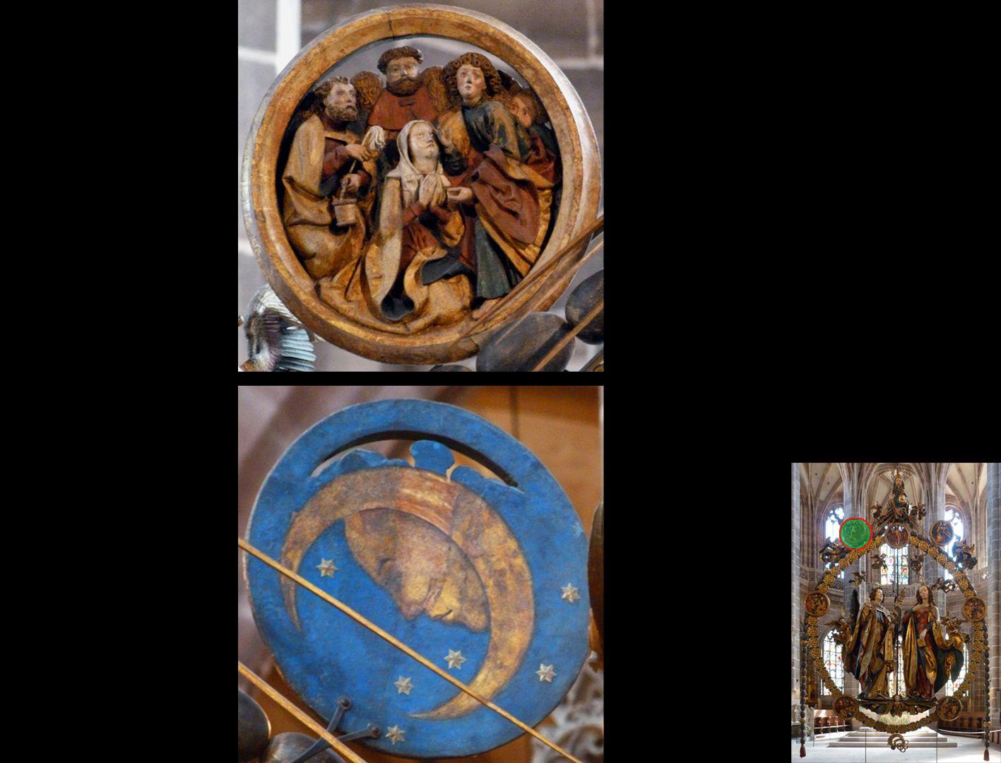 Englischer Gruß Marientodmedaillon von vorne und hinten (unten rechts Detaillokalisierung)