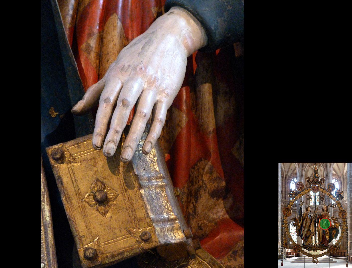 Englischer Gruß linke Hand Mariens mit fallendem Buch (unten rechts Detaillokalisierung)