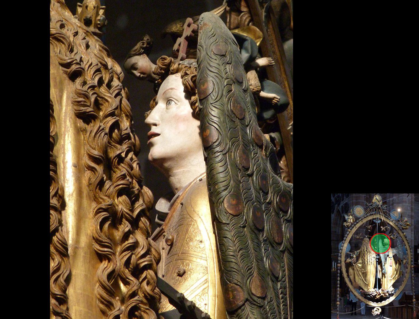 Englischer Gruß Haarsträhnen der Maria und Profil Gabriels (unten rechts Detaillokalisierung)