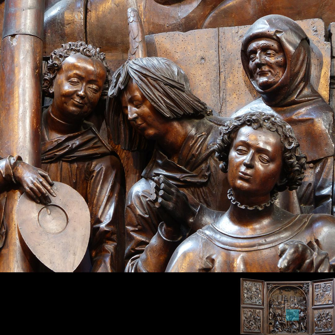 Marien-Altar Schrein, Köpfe der rechten Figurengruppe