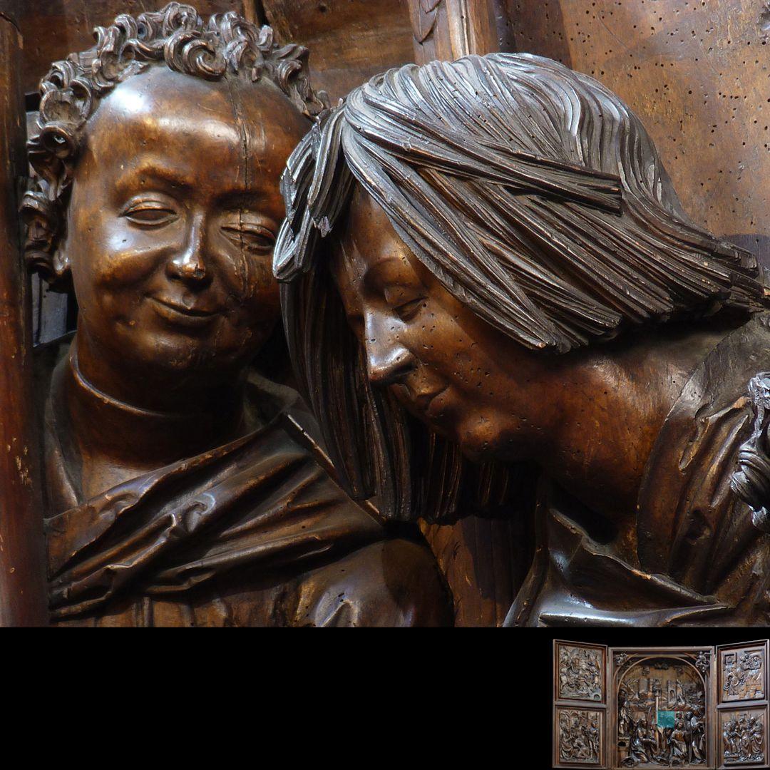 Marien-Altar Schrein, rechte Figurengruppe, zwei Köpfe