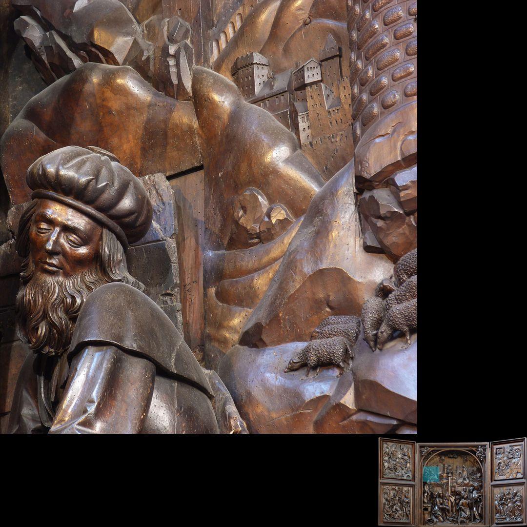 Marien-Altar Schrein, Detail des linken Hintergrundes mit Kopf des Joseph