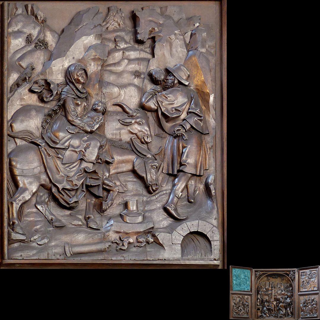 Marien-Altar linker Flügel oben mit Relief der Flucht nach Ägypten