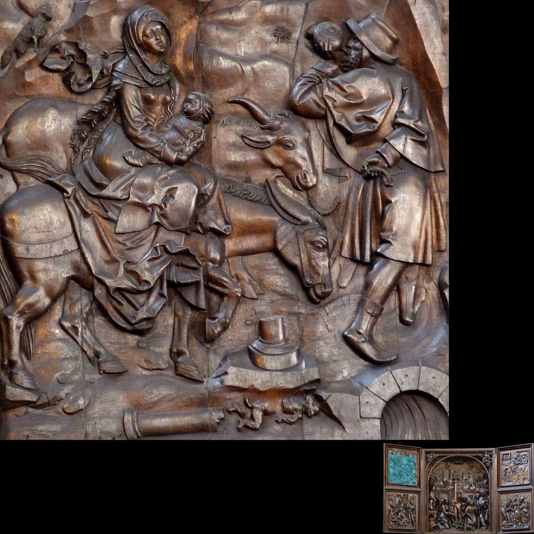 Marien-Altar linker Flügel oben mit Relief der Flucht nach Ägypten, Detail