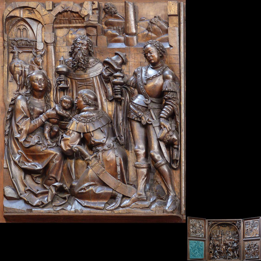 Marien-Altar linker Flügel unten mit Relief der Anbetung der Könige