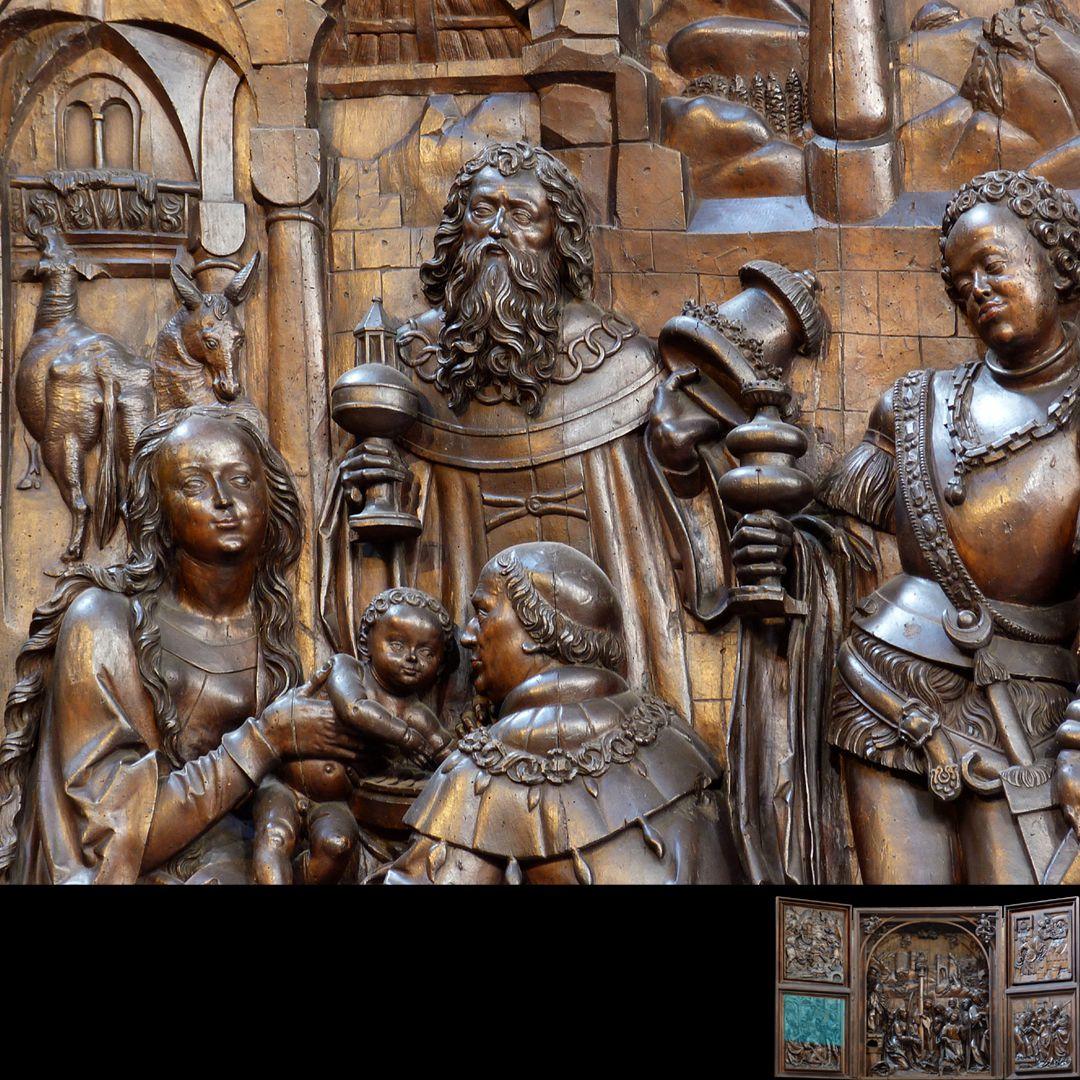 Marien-Altar linker Flügel unten mit Relief der Anbetung der Könige, Detail