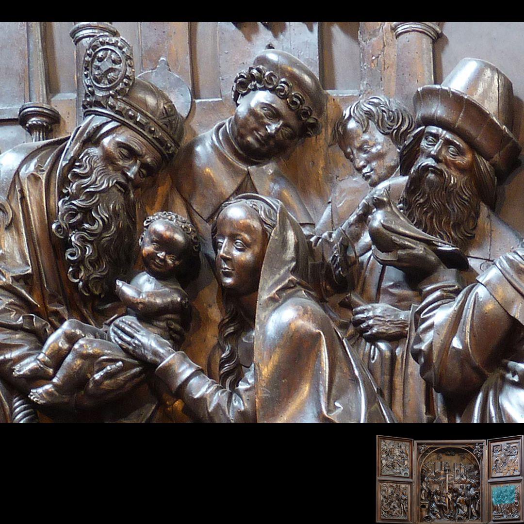 Marien-Altar rechter Flügel unten mit Relief der Darbringung im Tempel, Detail