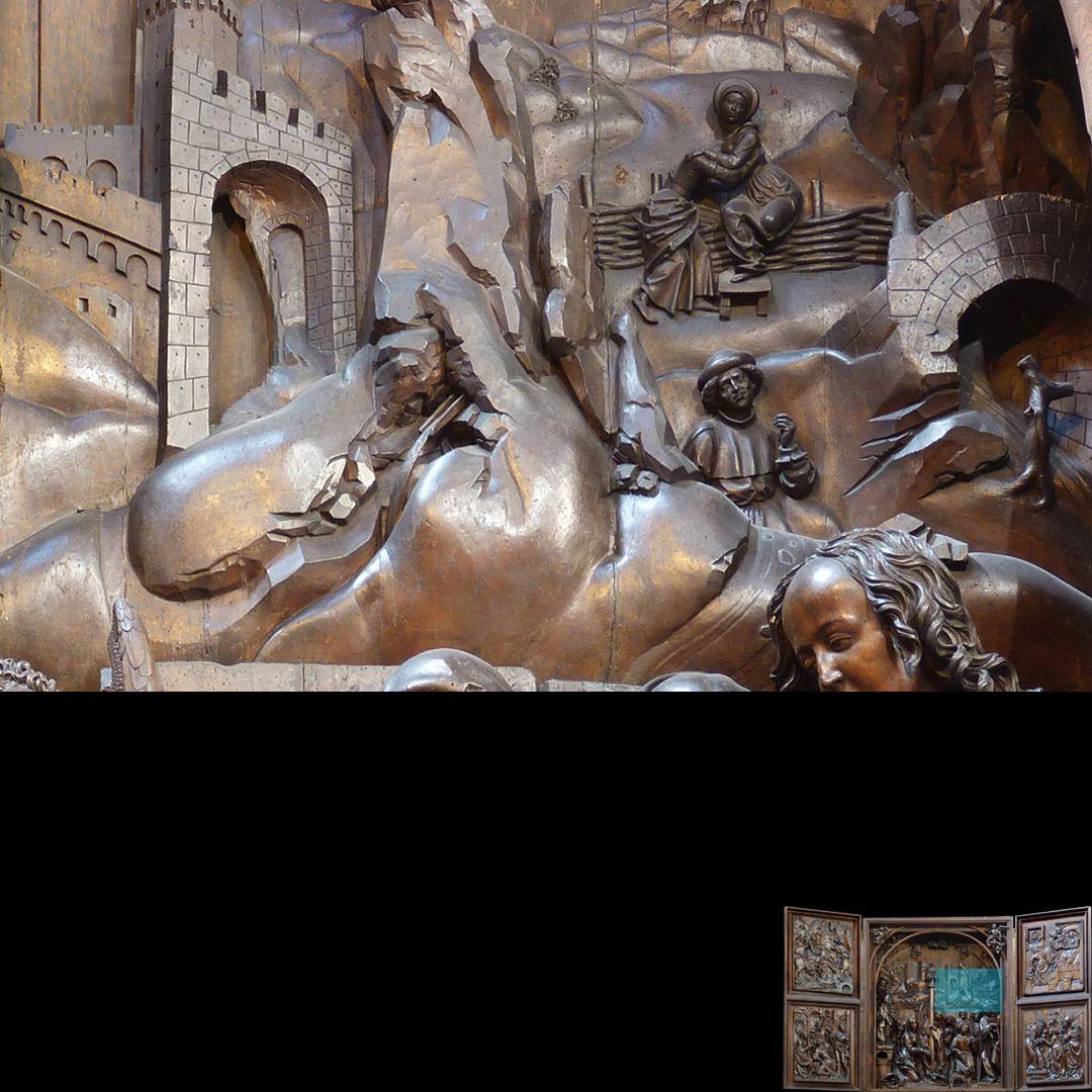Marien-Altar Schrein, Detail des Hintergrundes der Krippenszene