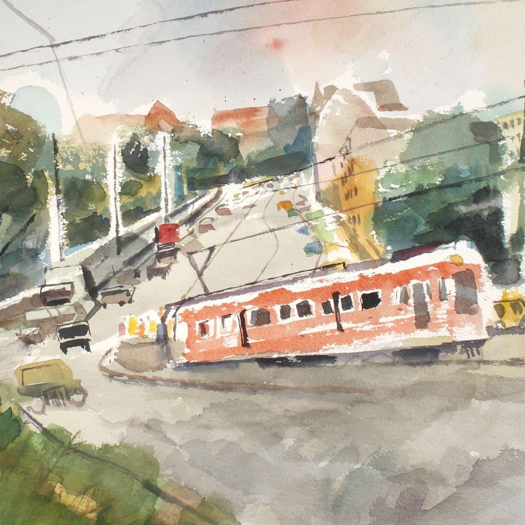 Straßenbahn am Burggraben Detailansicht mit Straßenbahn