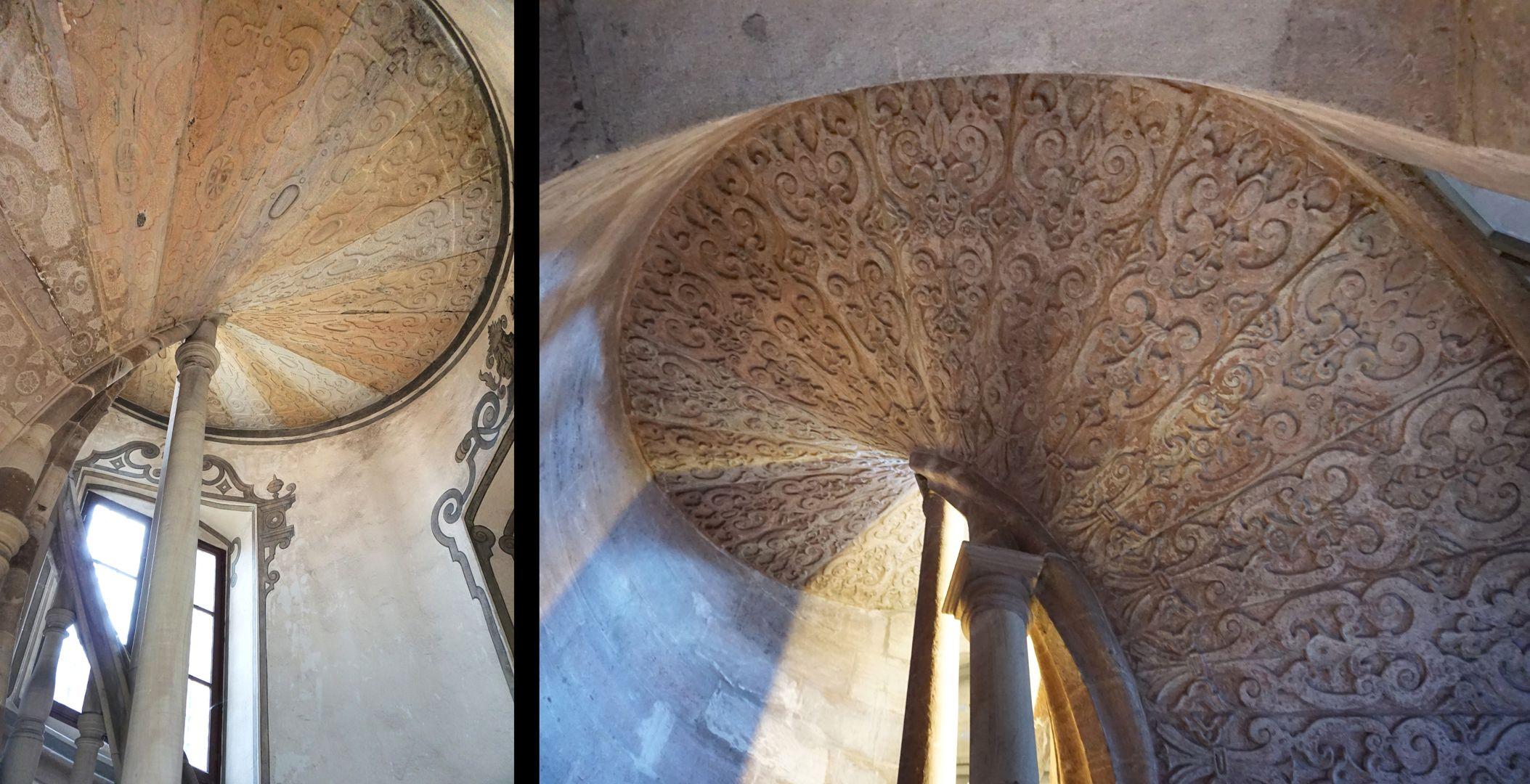 Treppentyp / Pellerhaus inks Straßburg, rechts Nürnberg: Wangensäulchen mit Stufenunterseite