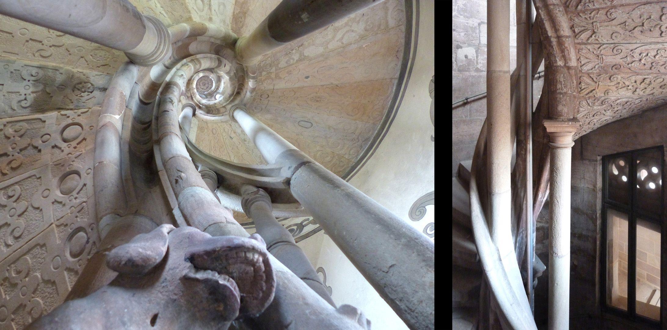 Treppentyp / Pellerhaus links Straßburg: Blick durch das Treppenauge, rechts Pellerhaus: Detail der Wangensäulchen und Handlauf (moderne mittlere Metallstange nicht dazugehörig)