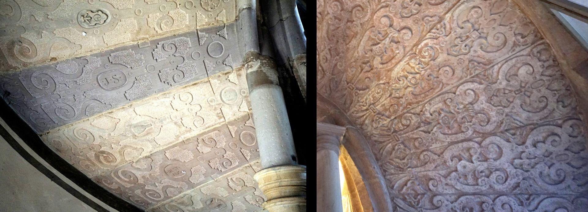 Treppentyp / Pellerhaus links Straßburg, rechts Pellerhaus: Details der Unterseiten, links in verschiedenen Steinsorten