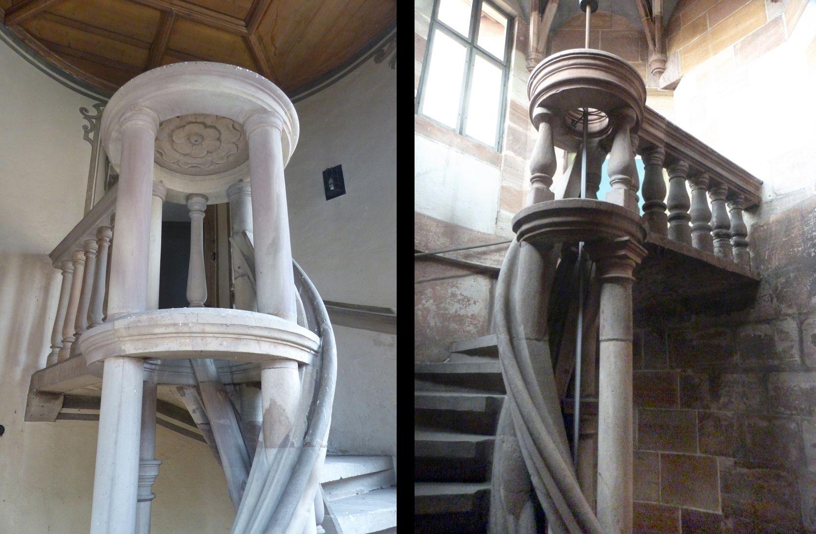 Treppentyp / Pellerhaus links Straßburg, rechts Nürnberg: ringförmiger Treppenaugenschluß und gerade Verbindung zur Wand mit Balustersäulchen
