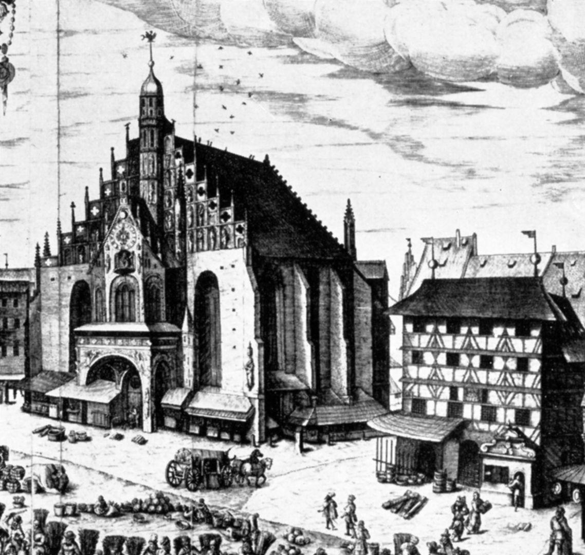 Druckgrafik des Hauptmarkt Detail Frauenkirche und Kürschnerhaus