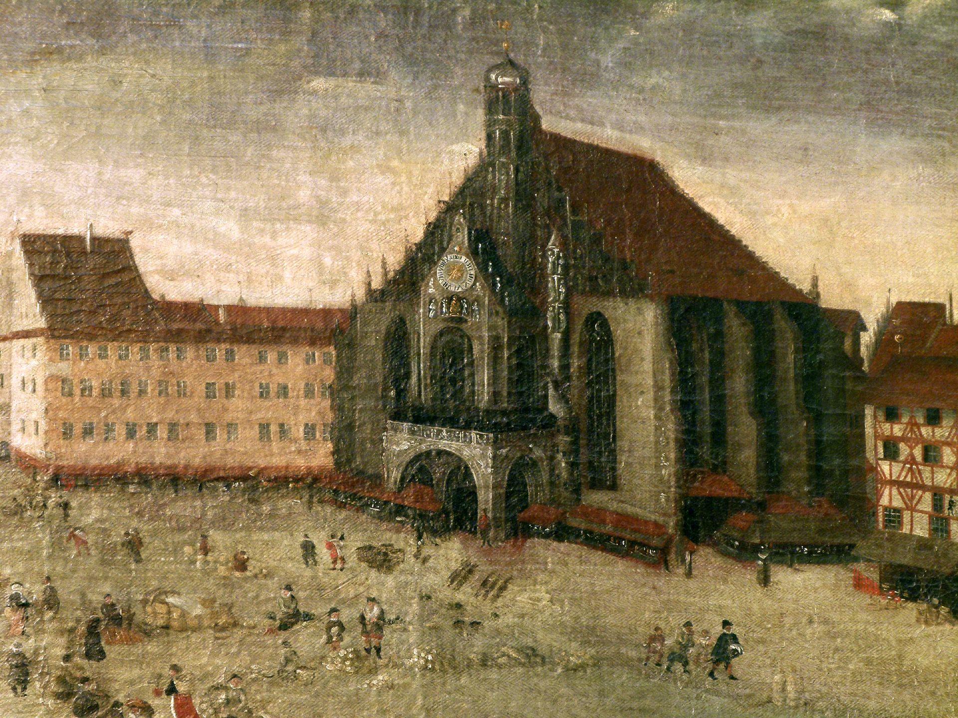 Der Nürnberger Hauptmarkt Stromersches Anwesen und Frauenkirche