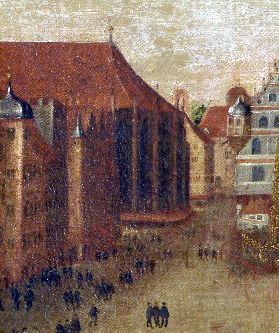 Der Nürnberger Hauptmarkt Detail mit Chor von St. Sebald