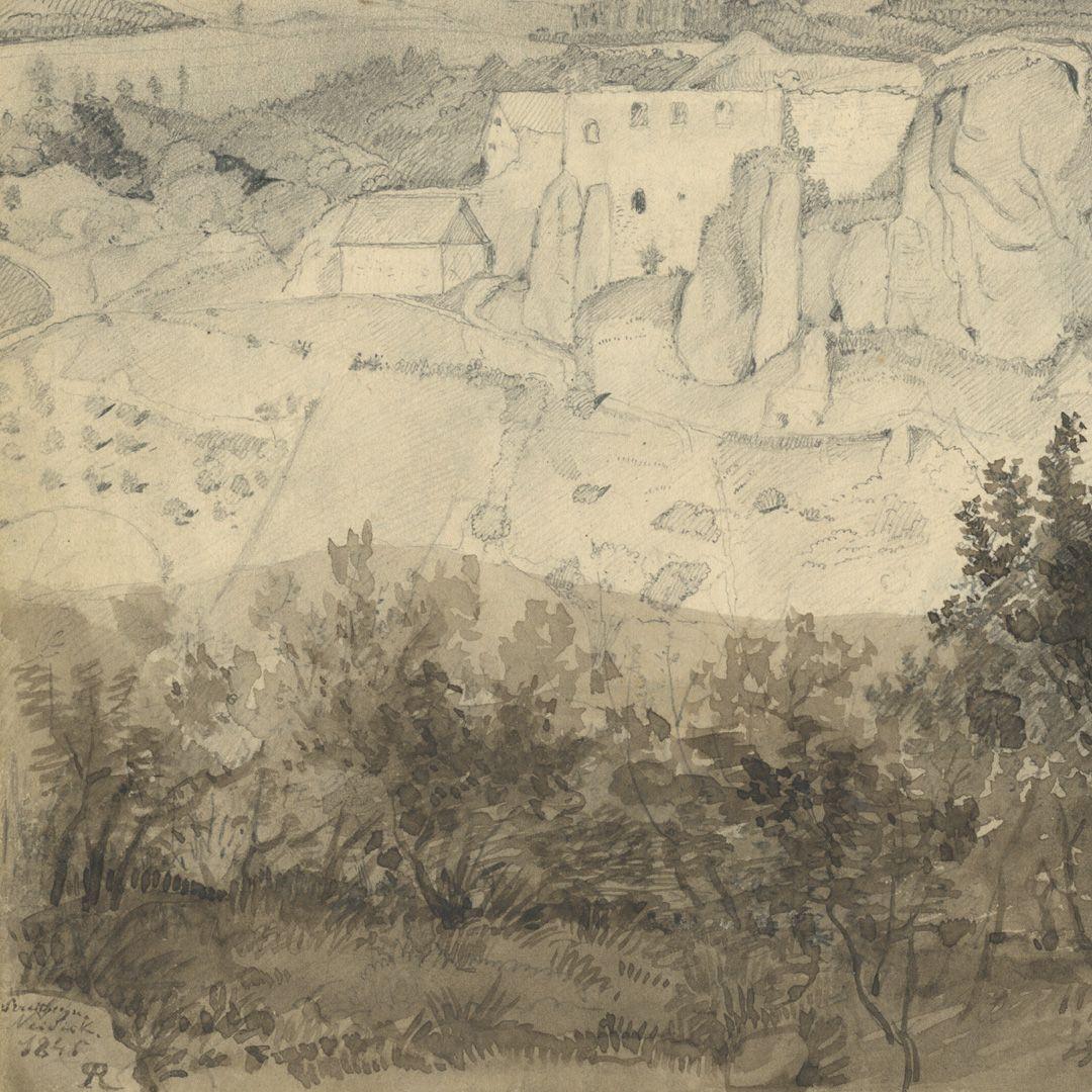 Skizzenbuch mit Ansichten von Streitberg und Neideck / inkl. Hallerweiherhaus in Nürnberg Doppelseite, Streitberg und Neideck, linke Seite unten mit Signatur