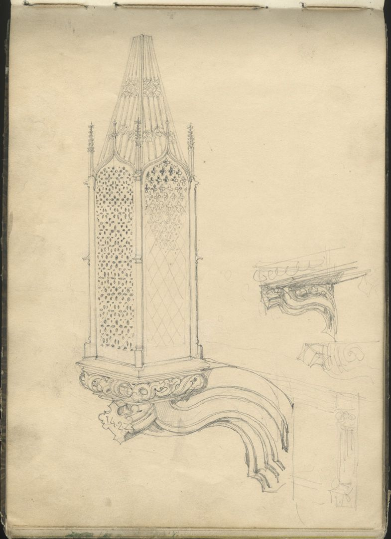 Skizzenbuch mit Ansichten von Streitberg und Neideck / inkl. Hallerweiherhaus in Nürnberg Totenleuchte des Schreyer-Landauerschen Epitaphs an der Sebalduskirche