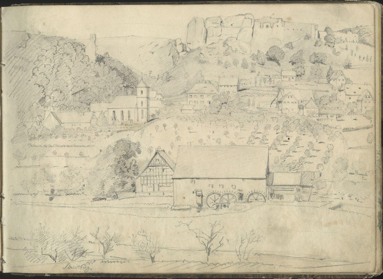 Skizzenbuch mit Ansichten von Streitberg und Neideck / inkl. Hallerweiherhaus in Nürnberg Dorf Streitberg und oberhalb die Burgruine Streitburg