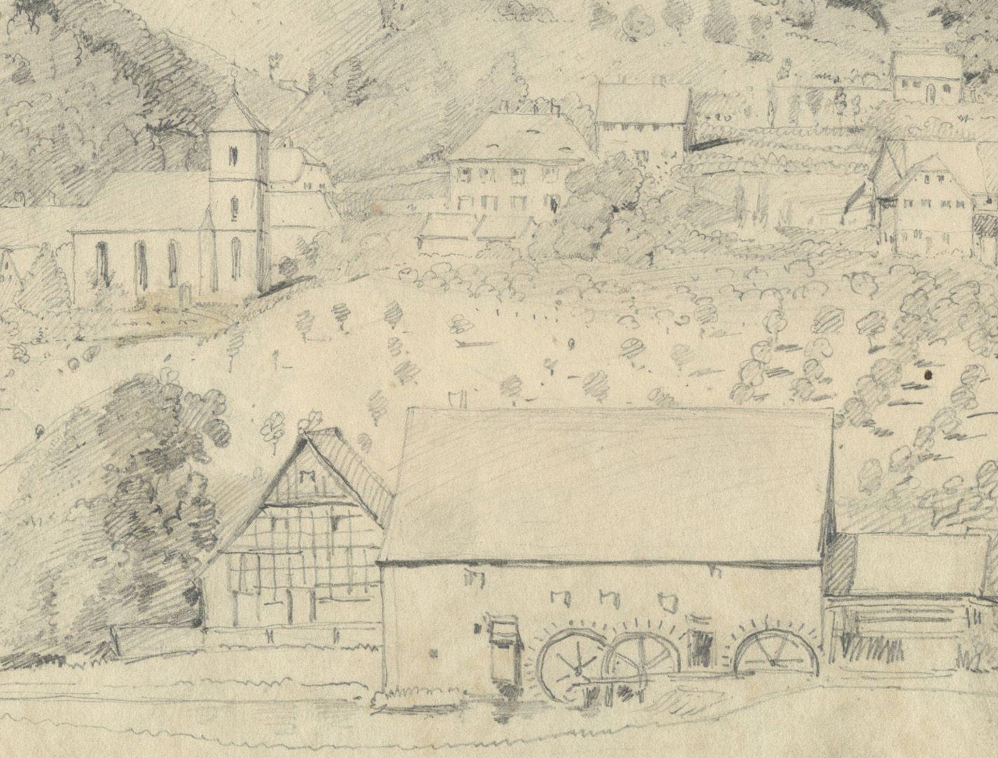Skizzenbuch mit Ansichten von Streitberg und Neideck / inkl. Hallerweiherhaus in Nürnberg Streitberg, Detail