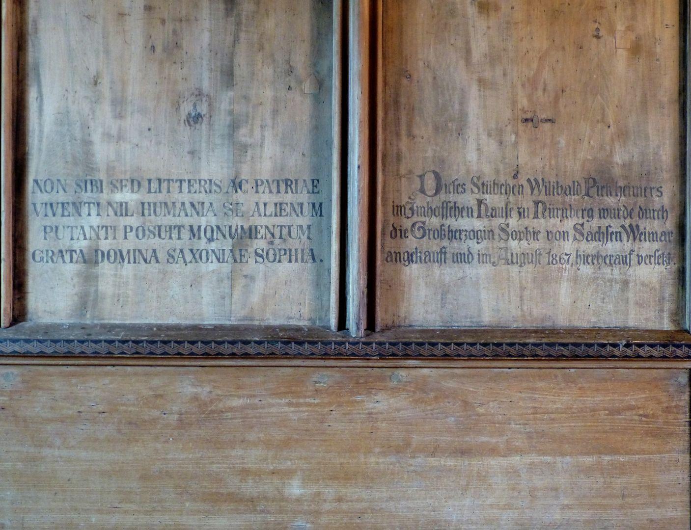 Studiolo des Anton Koberger Inschrift mit dem irreführenden Hinweis auf Pirckheimer