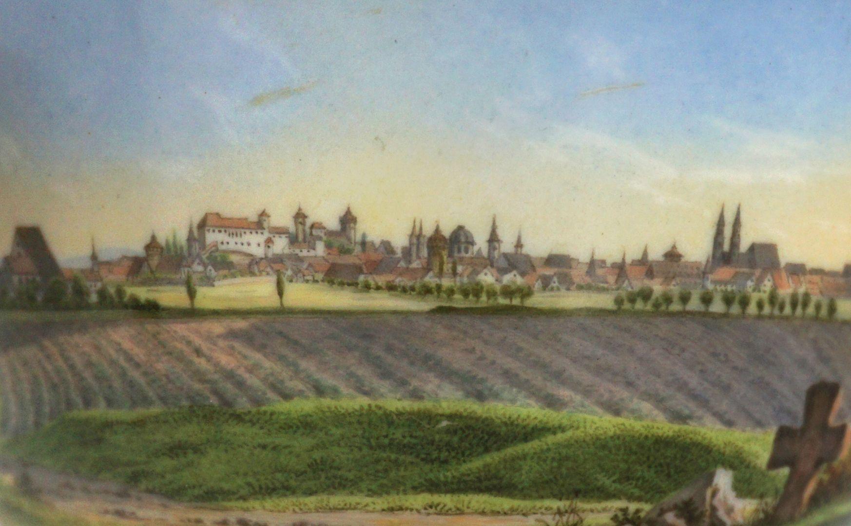 Tasse mit Nürnberg-Ansicht von Südwesten (links, im Westen, die Kirche St. Leonhard)