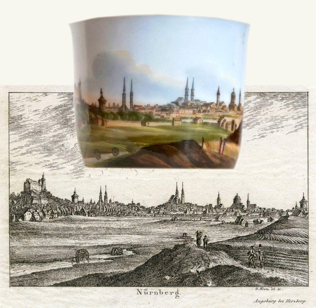 Tasse mit Nürnberg-Ansicht von Südwesten (Blick von der Deutschherrenwiese) Bildvergleich der Vorlage von Georg Adam aus dem Jahre 1820 mit der Malerei auf der Tasse