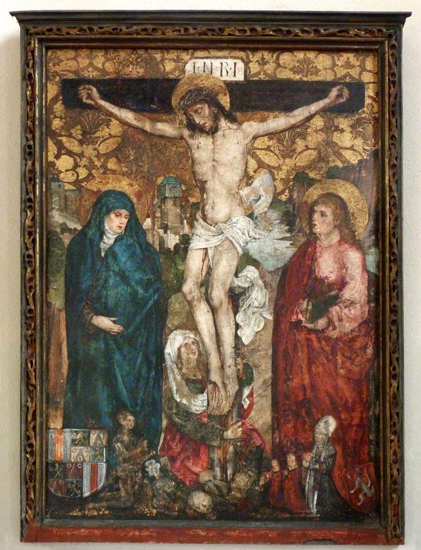 Epitaph der Obernitz Kreuzigung mit Maria, Johannes und Maria Magdalena, Gesamtansicht