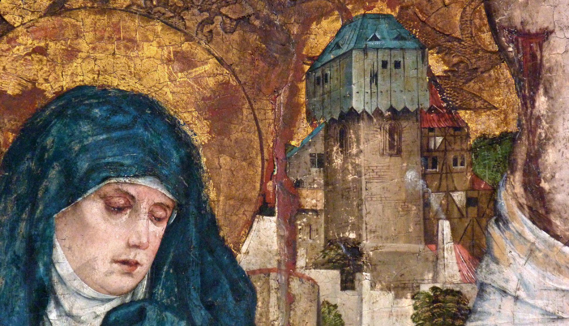 Epitaph der Obernitz Haupt Marias mit Details einer Stadansicht, offene Seite Jesu