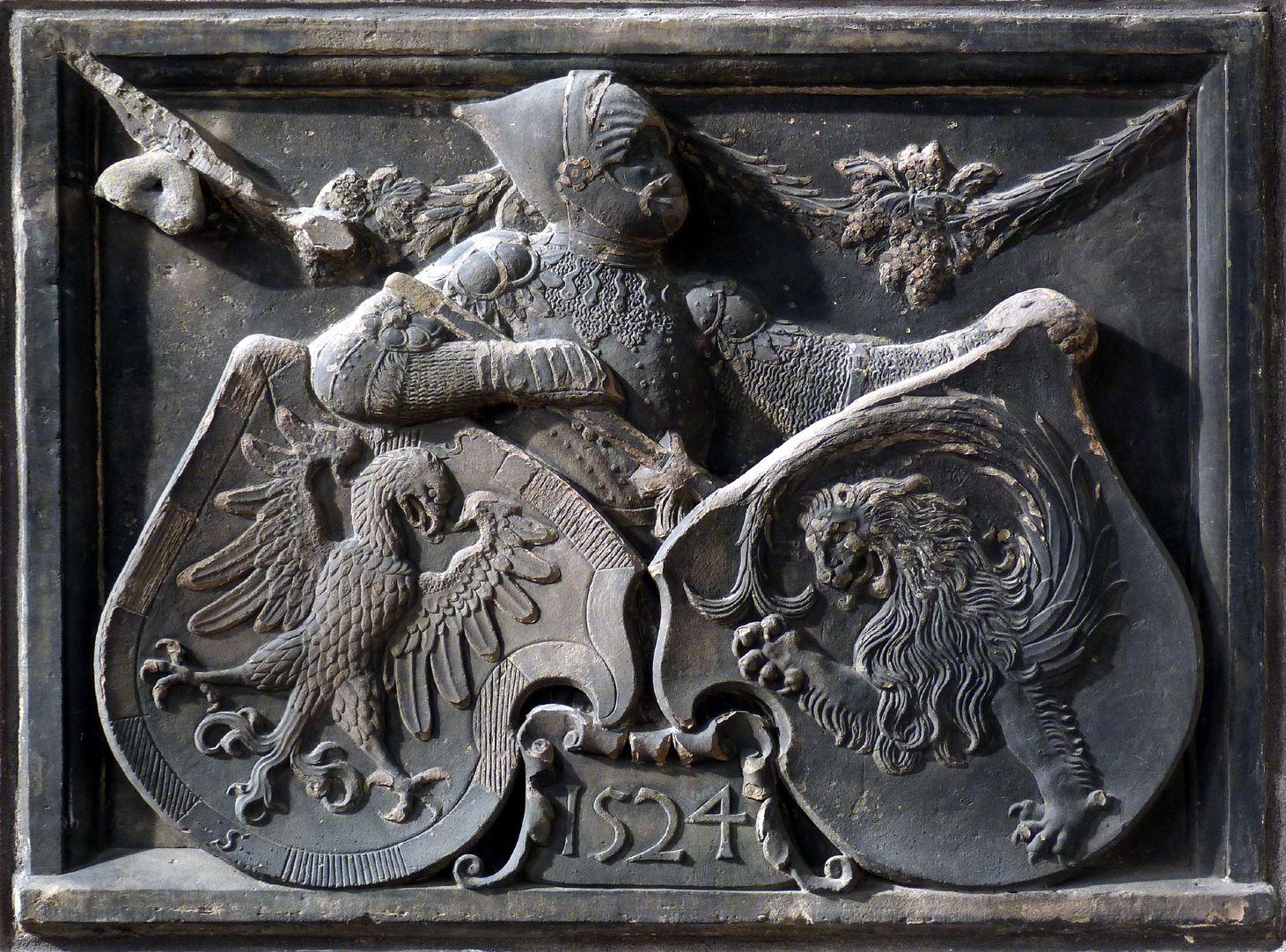 Wappenrelief Schlaudersbach/Imhoff Gesamt, Ritter als Wappenträger