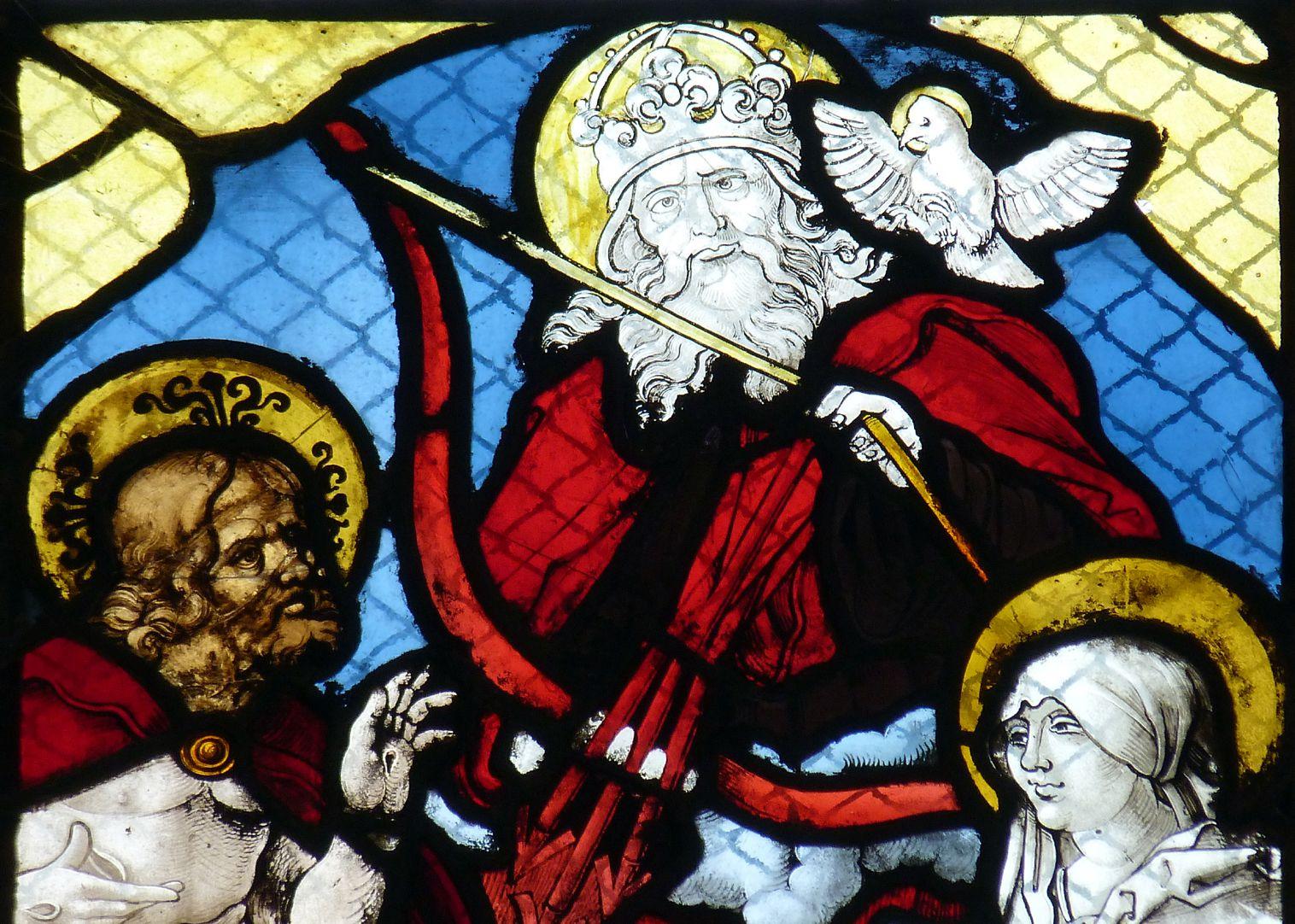Chorfenster in der Tetzelkapelle Fenster 2 a, obere Bildhälfte