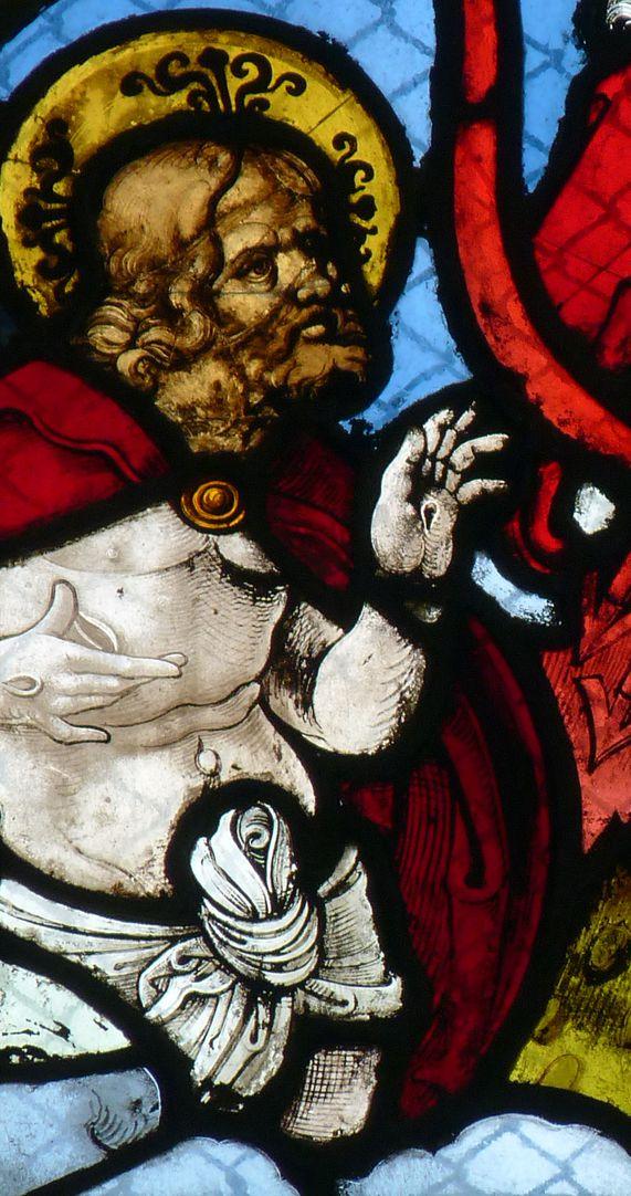 Chorfenster in der Tetzelkapelle Fenster 2 a, Detailansicht mit Christus