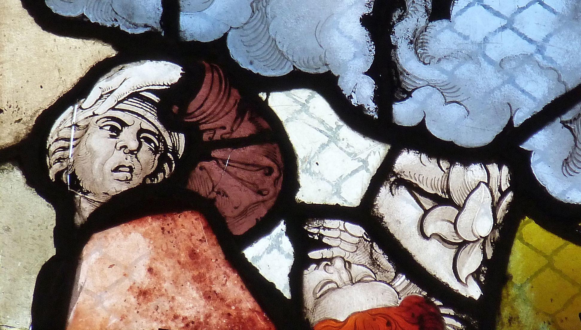 Chorfenster in der Tetzelkapelle Fenster 2 a, Menschenfragmente, In Scorzo-Ansicht