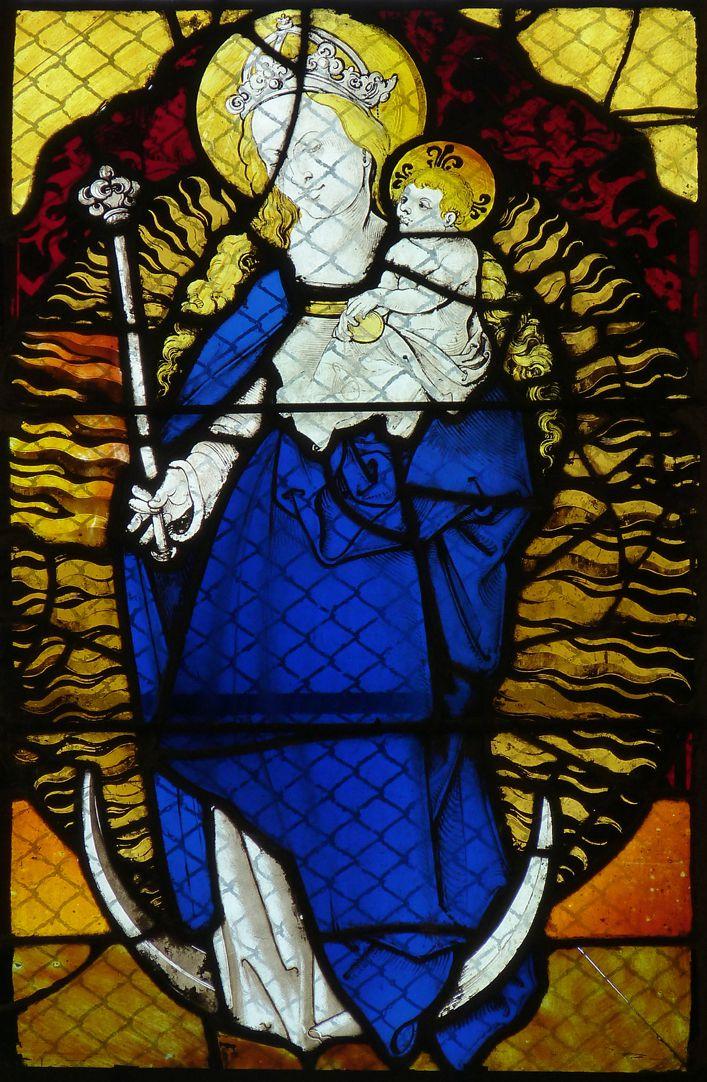 Chorfenster in der Tetzelkapelle Fenster 2 b, Maria auf der Mondsichel (Apokalyptische Madonna)