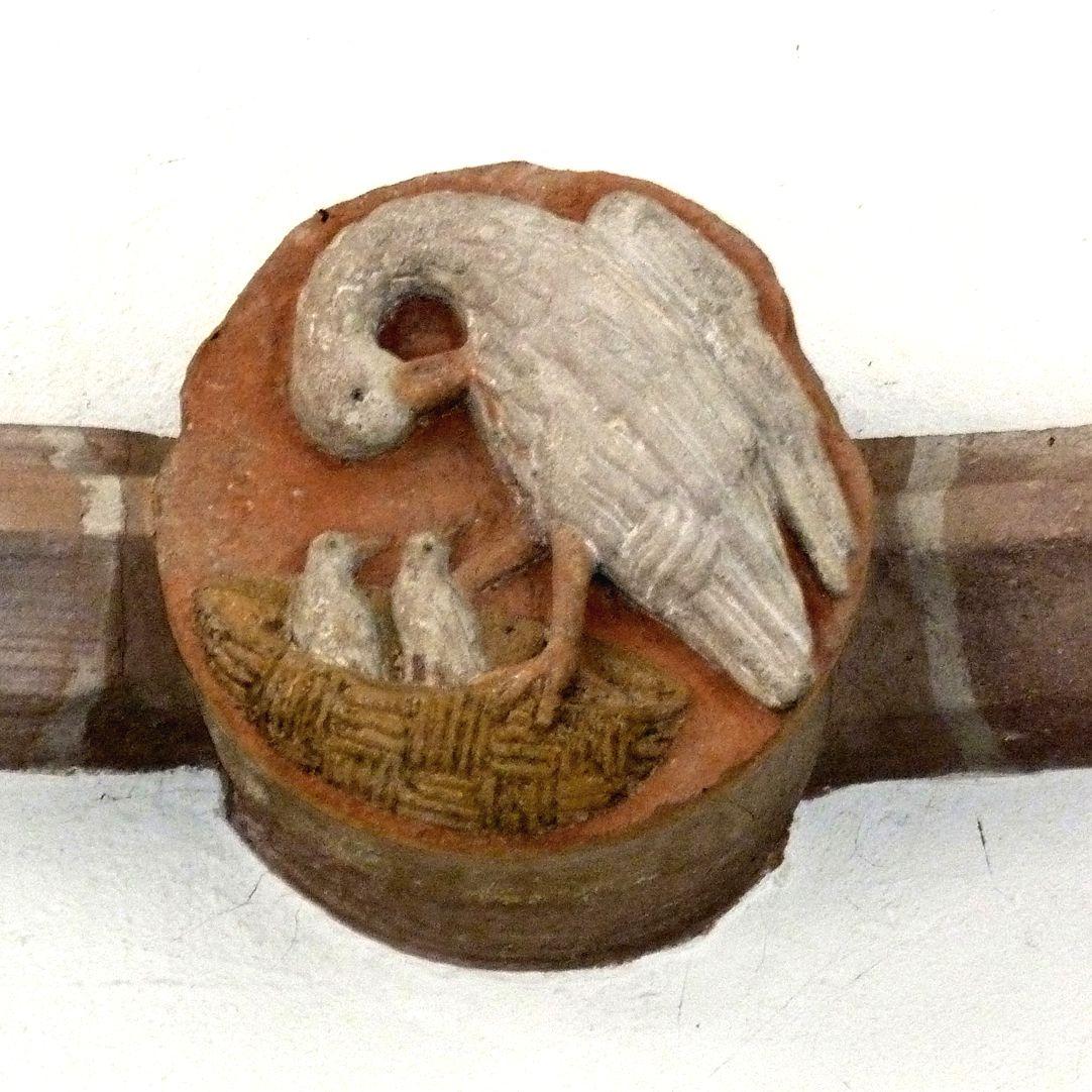 Tetzelkapelle mittlerer Schlussstein mit dem sich aufopfernden Pelikan