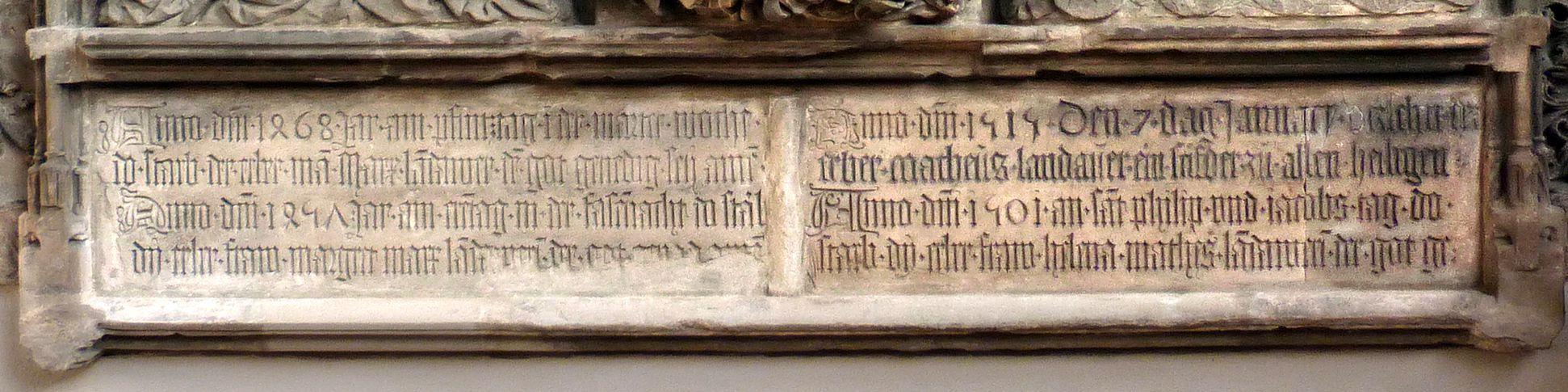Landauersches Epitaph Inschrifttafel links: Marx und Margareta, rechts Matthäus und Helena