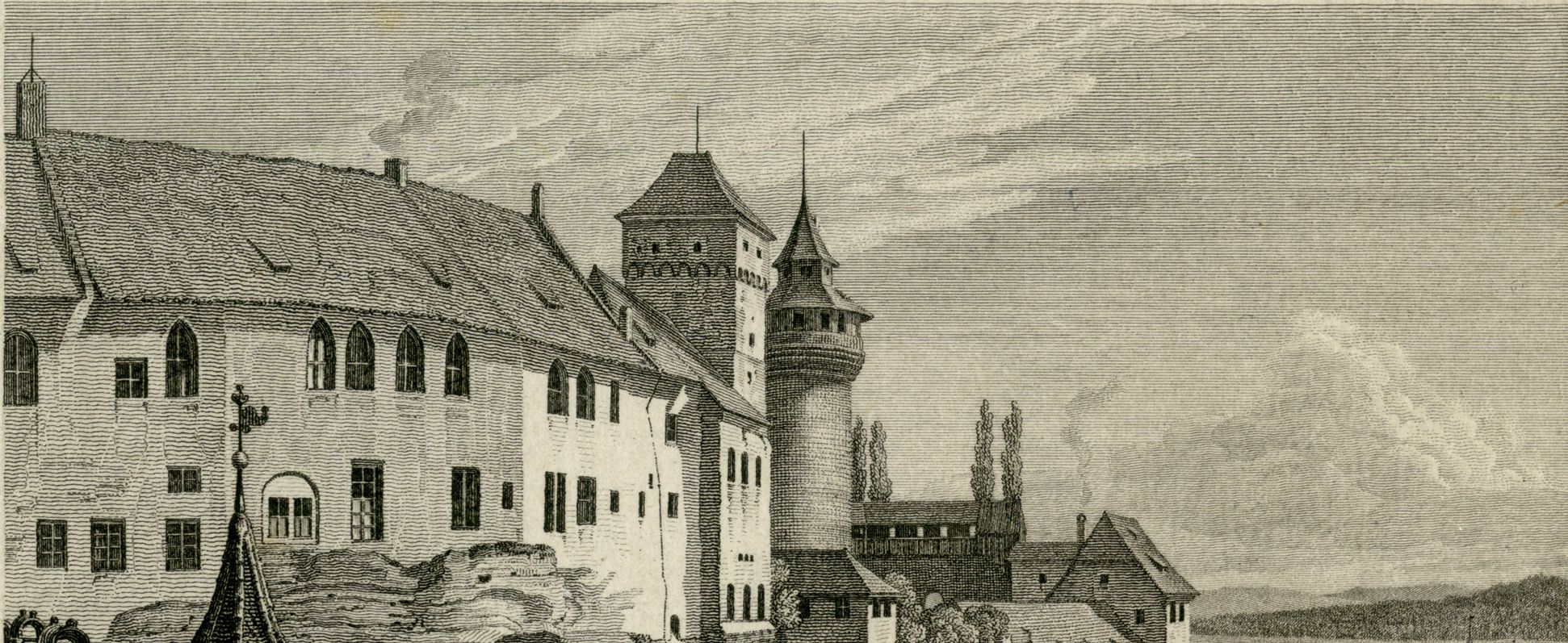 Blick vom Tiergärtnertorturm zur Burg obere Bildhälfte