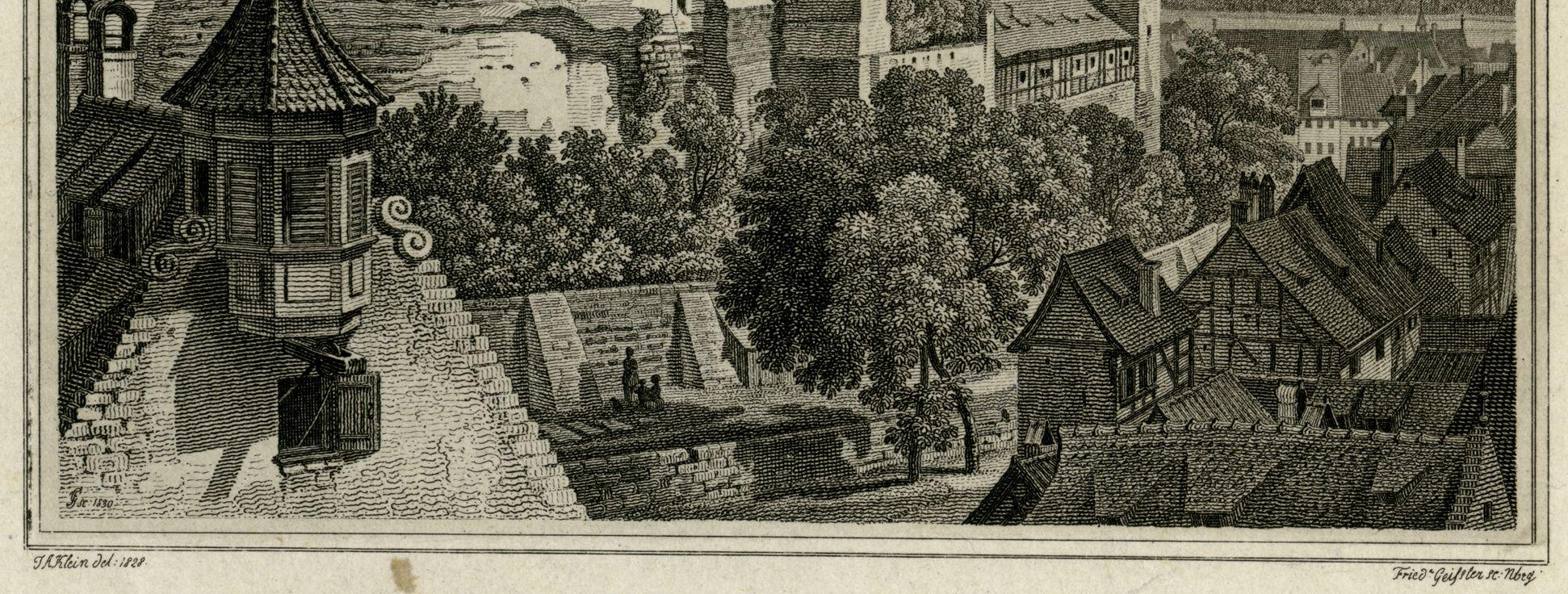 Blick vom Tiergärtnertorturm zur Burg untere Bildhälfte