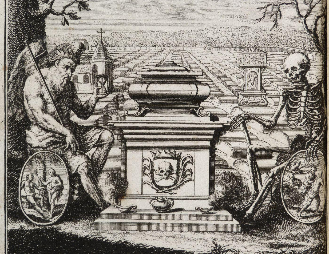 """""""Allein das Wort des Lebens macht, daß auch den Todt ein Christ nicht acht."""" Vor dem Johannisfriedhof sitzen Chronos (mit dem Sündenfall) und der Tod (mit der Paradiesvertreibung), eine Totenurne flankierend."""