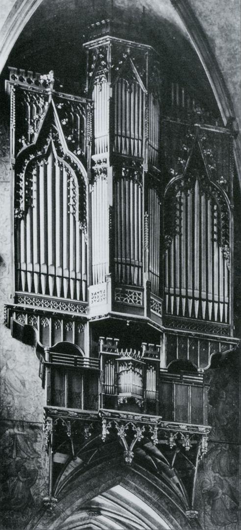 Traxdorfer Orgel Foto entstanden zwischen 1905 und 1945 ( Fotoquelle: Die Orgeln von St. Sebald / Verein zur Förderung der Kirchenmusik an St. Sebald-Nürnberg e.V. / ohne Jahresangabe / nach 1978)